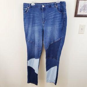 Eloquii | Patchwork High Waist Plus Size Jean